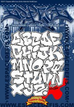9 - Alphabet graffiti block style à la base des compositions N° 1, 4, 6 et 13 pour être mis en couleur - Vous avez choisi celui-ci ! participez au sondage en votant le N° 9