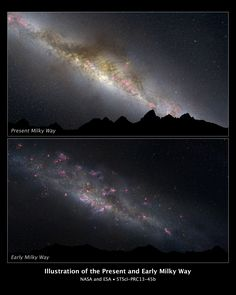 What a difference 11 billion years makes, as can be seen in these two comparative views of our Milky Way galaxy. The top view shows how our galaxy looks today; the bottom view, how it appeared in the remote past. This photo illustration is based on a Hubble Space Telescope survey of evolving Milky Way-type galaxies.