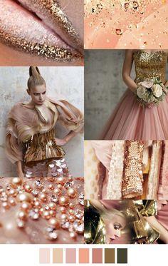 Pink gold peach F/W 2016 Colour Schemes, Color Trends, Color Patterns, Color Combinations, Color Palettes, Pink Gold Peach, Pink Und Gold, Rose Gold, 2016 Fashion Trends