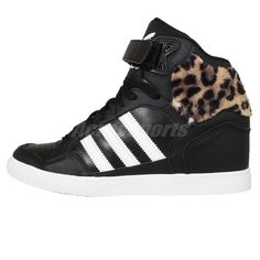 timeless design 72c8c 23621 Adidas Originals Extaball UP W Black Leopard Womens Wedges Shoes Sneakers  AF4387