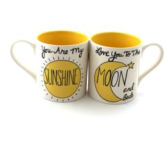 You Are My Sunshine Love You to the Moon Mug Set Gift for Couple Mr... ($21) ❤ liked on Polyvore featuring home, kitchen & dining, drinkware, drink & barware, home & living, mugs, silver, personalized mugs, personalized drinkware and personalize mugs