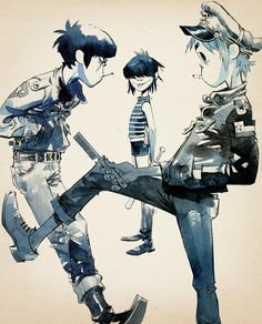 JAMIE HEWLETT (Gorillaz) - more fashion stuff (I don't know fashion). possibly taking note of the monochrome watercolours.