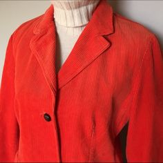 """Corduroy Blazer NWT Medium 10-12 NEW Lands' End corduroy blazer. Orange with brown elbow patches & button details. Brand new. Tag states size as: Ladies size """"Medium 10-12"""". Good quality - thick and warm. Fully lined. Nice, big front pockets. Lands' End Jackets & Coats Blazers"""