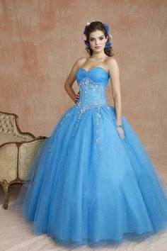 Blue Quinceanera Dresses | Traditional Floral Hair Style and Strapless gown | Vestidos de Quinceanera #quinceanera #quince