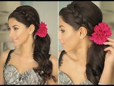 Braid, side ponytail, flower - Luxy Hair