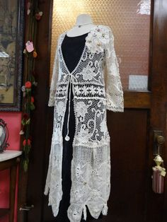 Lace Long VestUpcycled Long VestBohemian by NineMusesofCrete, $110.00