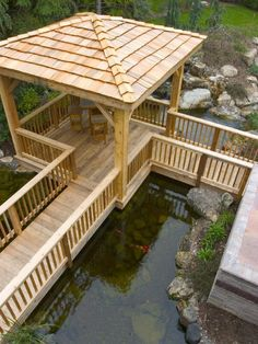 wooden garden accessories | ... Garden Decor : Pond Deck Designs In Japanese Style With Wooden Pergola