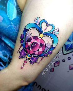 Sailor Pluto's Garnet Orb done by ✨ Girly Tattoos, Dream Tattoos, Badass Tattoos, Body Art Tattoos, Print Tattoos, Kawaii Tattoos, Gem Tattoo, Jewel Tattoo, Arte Sailor Moon