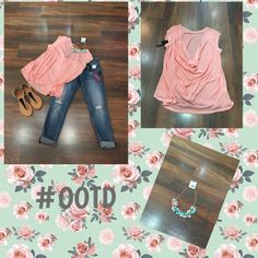 "Happy Monday!!! Today's #ootd is our draped back peach colored top and of course Vigoss jeans. Add some super cute sandals and statement necklace and your outfit is complete! All available here at Moda me Boutique!!! ""The Lord is my strength and my song; he has become my salvation. He is my God, and I will praise him."" Exodus 15:2"
