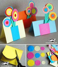 Put a colorful paper bouquet on a card.