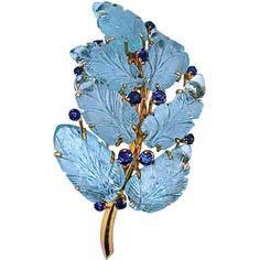 Suzanne Belperron - BELPERRON Rare Aquamarine Leaves Spray Pin with Certificate - 21st Century Jewels LTD found on Polyvore