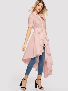 Casual Plain Asymmetrical Shirt Regular Fit Collar Short Sleeve Placket Pink Longline Length Solid High Low Shirt with Belt Shirt Refashion, T Shirt Diy, Pink Fashion, Fashion Outfits, High Low Shirt, Trench Dress, White Shirts, Fashion News, Casual