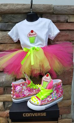 Candyland Tutu Set with matching Custom Converse Bedazzled Shoes, Bling Shoes, Cute Little Girls Outfits, Kids Outfits, Bling Converse, Custom Converse, Candy Costumes, Fantasias Halloween, Disney Princess Dresses
