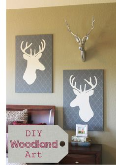 Diy woodland art. How-to make a custom deer canvas. Good for wood,plans themed, or hunting themed bedroom. Modern and simple design and color palette. Theraggedwren.blogspot.com