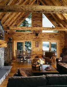 Lakeside log cabin