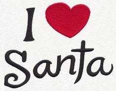 I LOVE SANTA  Cotton Kitchen Tea Towel by StitchnJEmbroidery on Etsy