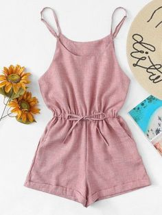 Shop Drawstring Waist Cami Jumpsuit at ROMWE, discover more fashion styles online. Crop Top Outfits, Cute Casual Outfits, Girly Outfits, Cute Summer Outfits, Stylish Outfits, Girls Fashion Clothes, Teen Fashion Outfits, Outfits For Teens, Vetement Fashion
