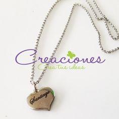 Dije con nombre y cadena de acero inoxidable - Accesorios Personalizados- Creaciones www.creaciones.mx, info@creaciones.mx, (662)2105599