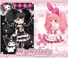 my melody x kuromi cuteness.. I want to cosplay the girl with Kuromi