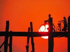 U Bein's Bridge Sunset Bicycles Shadow