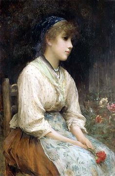 A Venetian Flower Girl, Sir Luke Fildes. English (1843-1927)