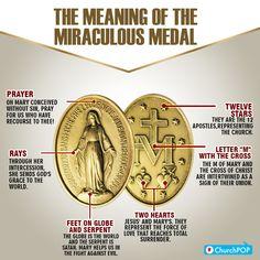 is a powerful sacramental! Meaning of the Mary's Miraculous Medal Catholic Prayers, Catholic Religious Education, Catholic Beliefs, Catholic Quotes, Catholic Traditions, Catholic Answers, Catholic Saints, Christianity, Blessed Mother Mary