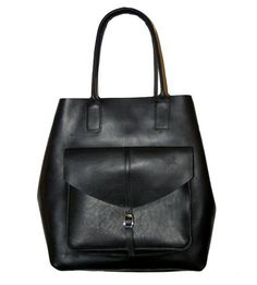 Leather Tote with Envelope Pocket   You've got a lot of essentials, and this roomy leather tote ma...   Handbags