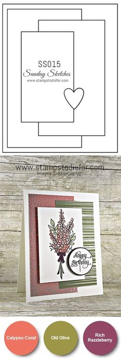 Handmade card using a card sketch and the lots of Lavender stamp set by Stampin Up