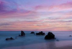 Malibu Sunset Print featuring the photograph Malibu Sunset by Elena Chukhlebova #ocean #sunset #Malibu #rocks #artforhome