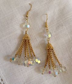 Gold Tassel Earrings with Aurora Borealis Beads by heartsoftoday, $20.00