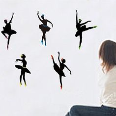 Wall Decal Ballet Dancing Home Sticker House Decoration WallPaper Removable Living Dinning Room Bedroom Kitchen Art Picture Murals DIY Stick Girls Boys kids Nursery Baby Decoration ** Read more reviews of the product by visiting the link on the image.