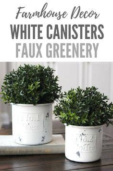 Farmhouse Decor~Faux Greenery~Greenery Set~New England Boxwoods in Distressed White Canisters #affiliate #farmhousedecor #homedecor