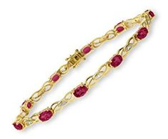 0.05 Carat Diamond with Ruby Prong Setting Bracelet in 9ct Yellow Gold  http://electmejewellery.com/jewelry/bracelets/005-carat-diamond-with-ruby-prong-setting-bracelet-in-9ct-yellow-gold-couk/
