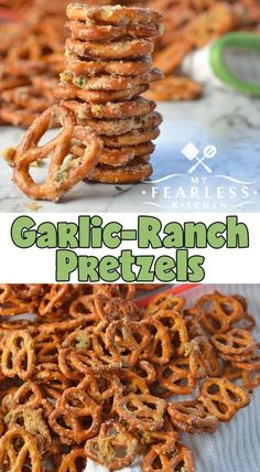 Garlic-Ranch Pretzels from My Fearless Kitchen. These Garlic-Ranch Pretzels are … Garlic-Ranch Pretzels from My Fearless Kitchen. These Garlic-Ranch Pretzels are a perfect snack for an afternoon pick-me-up, a relaxing evening, or any party! Snack Mix Recipes, Yummy Snacks, Appetizer Recipes, Cooking Recipes, Yummy Food, Snack Mixes, Healthy Salty Snacks, Simple Snacks, Health Appetizers