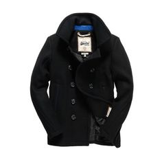 Superdry Premium Pea Coat (13405 RSD) ❤ liked on Polyvore featuring men's fashion, men's clothing, men's outerwear, men's coats, black, mens fur collar coat, mens coats, mens fur lined coat, mens pea coat jacket and mens double breasted pea coat