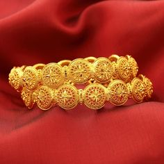 Striking designs with an edgy appeal, #ShreeHari's intricately Designed Gold Plated #Bangles! https://www.shreehari.co/gold-plated/bangles.html #GoldPlated