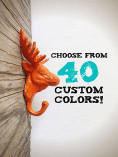 77e01102039 Woodland Playroom Decor   Orange Moose Wall Hook   Animal Head Wall Decor    Wilderness Kids
