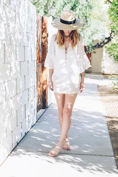 White Tunic Straw Panama Hat Prosecco & plaid