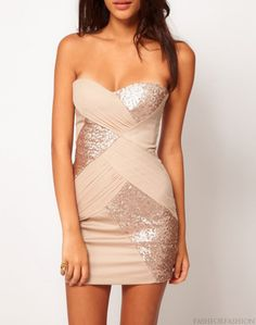 sequined/blush colored dress.