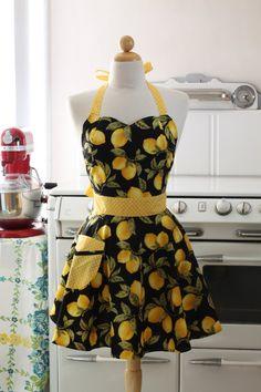 BOOJIBOO Retro Apron Line: Style: Bella, Sweetheart Cut Pattern: Lemons {featured on Etsy}