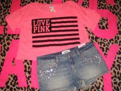 Victoria's Secret Pink Flag Bling T Shirt Top Denim Bling Shorts