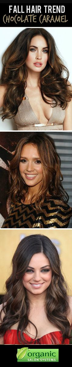 Best Fall Hair Color Trend for Brunettes: Chocolate Caramel! Meaning, brown hair with caramel highlights! #fallhair #hairtrends
