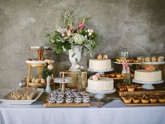 Let's talk about wedding dessert tables. Here are 15 ways to decorate and fill the dessert table at your wedding reception. Vintage Dessert Tables, Buffet Dessert, Dessert Table Decor, Dessert Stand, Dessert Bars, Dessert Table Birthday, Table Decorations, Dessert Bar Wedding, Wedding Sweets