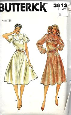 Butterick 3612 Flutter Sleeve Gathered To Yoke Dress Pattern, Size 16, UNCUT by DawnsDesignBoutique on Etsy