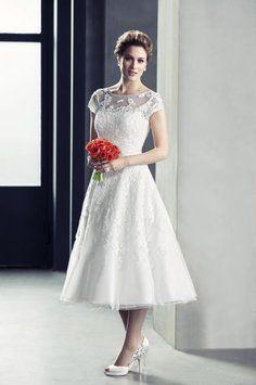 Wedding dress on pinterest covered buttons wedding for Oleg cassini wedding dress tea length