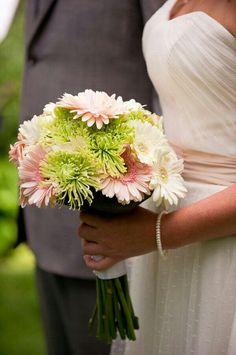 {Pretty Bridal Bouquet Of White Gerbera Daisies, Pink Gerbera Daisies, & Green Spider Mums}