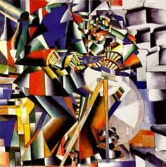 "Malevich (1912-1913) during this time his works were influenced by Natalia Goncharova and Mikhail Larionov, Russian avant-garde painters, who were particularly interested in Russian folk art called lubok. Malevich's described himself as painting in a ""Cubo-Futuristic"" style in 1912. He exhibited with them as part of the ""Donkey's Tail""."