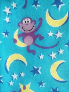 "Cotton Flannel Monkey Stars Moon Night Fabric Jo Ann Blue Purple 2 Yards X 43""  #JoAnnFabrics"