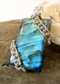 """""""Blue Labradorite Wire Wrapped Pendant Sterling by BellaDivaBeads""""  © Jennifer Lynch, BellaDivaBeads  (quote) via etsy.com"""