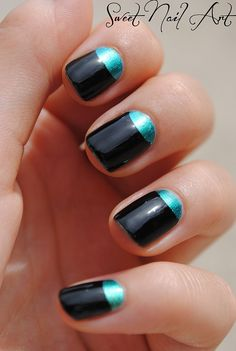 Half-moon nail art is becoming favorite trend of fashion-forward girls. The half-moon design is a lo Funky Nail Art, Black Nail Art, Funky Nails, Black Nails, Trendy Nails, Cute Nails, Green Nails, Black Glitter, Moon Manicure